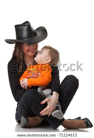 Mother and  her sweet  baby on a white background. Happy family. - stock photo