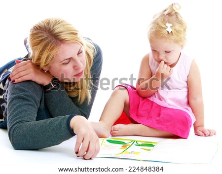 Mother and little daughter playing an exciting game, isolated on white background - stock photo