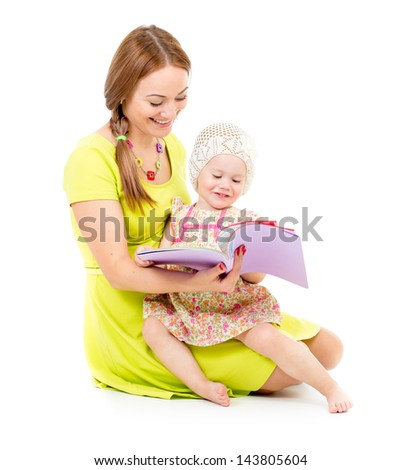 mother and little girl sitting and reading book together isolated on white