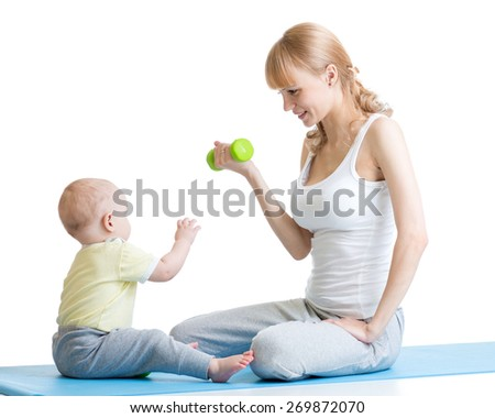 Mother and little kid spending time in gymnastics isolated - stock photo