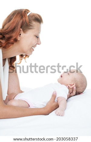 mother and newborn baby on white background