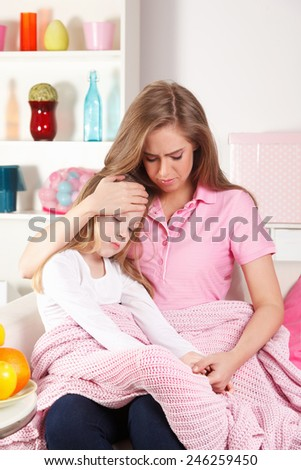 Mother and sick child - stock photo