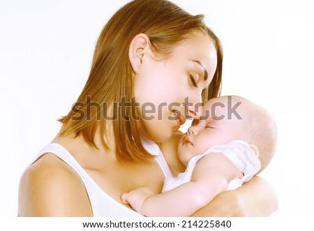 Mother and sleep baby - stock photo