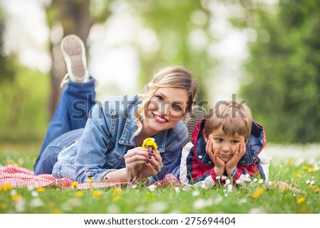 Mother and son at a picnic in the nature