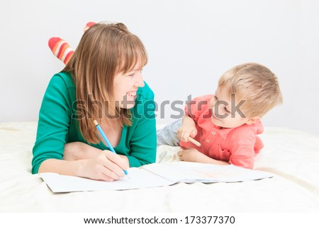 mother and son drawing, early education concept