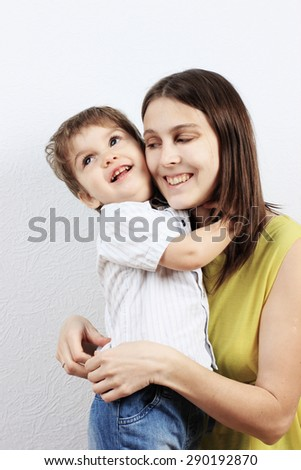 Mother and son, Happy family, Happy woman, Happy mother. Smiling faces - stock photo