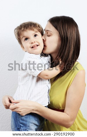 Mother and son, Happy mother or Love, Mother kiss, Mother care - stock photo