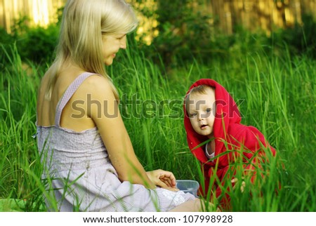 Mother and Son Having Fun in Nature - stock photo