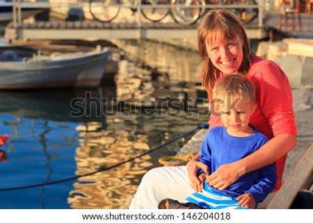 mother and son in Crete, Greece - stock photo