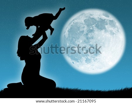 Mother and son in silhouette against the moon