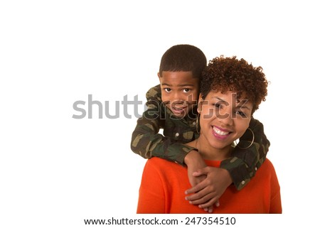 Mother and son isolated on white - stock photo