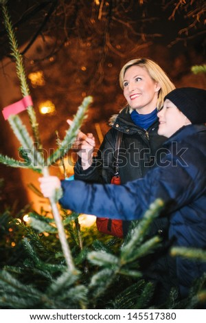 Mother and Son looking for a new Christmas Tree - stock photo