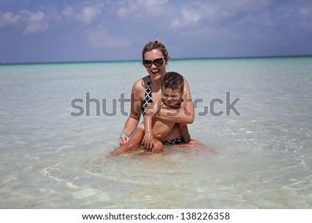 Mother and son on a beach vacation