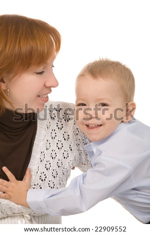mother and son on a white background