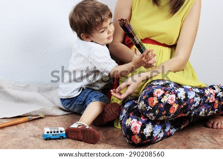 Mother and son or Child playing, Creative child - stock photo