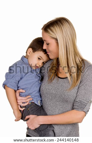 mother and son symbol of love, care, single mother - stock photo