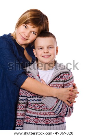 Mother and son together isolated on white