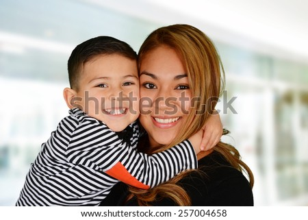 Mother and son who are playing together - stock photo