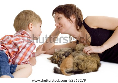 mother and son with cat and eating kitten isolated on white background