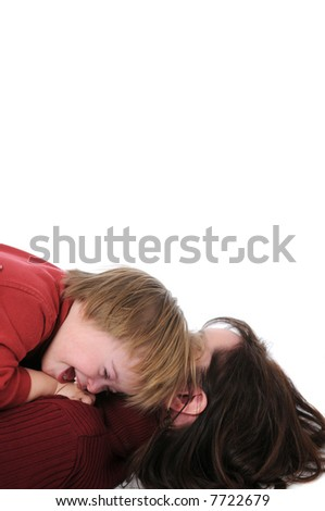 Mother and son with down syndrome with blank space for text - stock photo