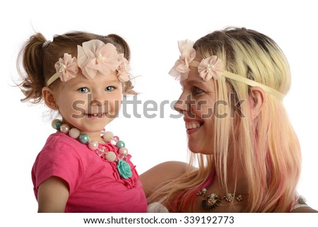 Mother and toddler portrait smiling isolated on a white background