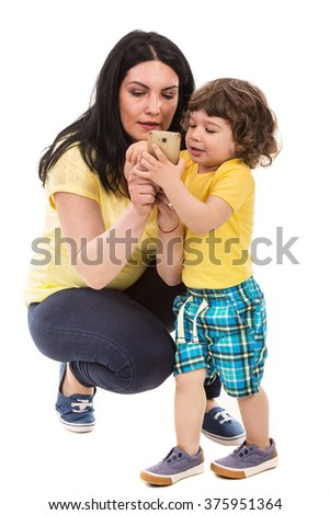Mother and toddler son by phone mobile isolated on white background