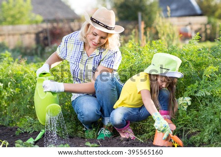 mother and young daughter planting strawberry in home garden field - stock photo