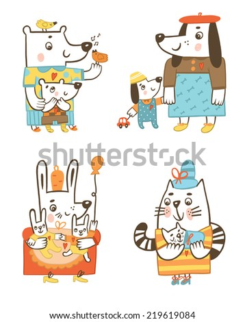 mother animals with their babies. Funny characters - stock photo