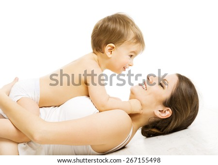 Mother Baby Love, Happy Mom with Kid Boy. Child and Family Isolated over White - stock photo