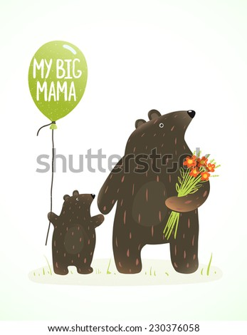 Mother Bear and her Baby Childish Animal Cartoon. Hand drawn style drawing of animal mom and her son. Raster variant. - stock photo
