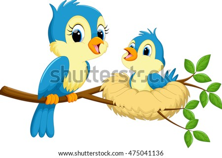 mother bird babies stock illustration 475041136 shutterstock rh shutterstock com baby bird hatching cartoon big baby bird cartoon