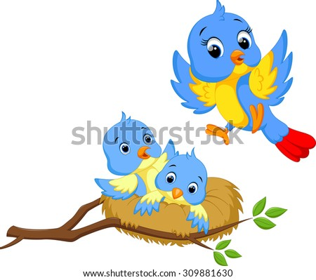 Mother bird with two cubs - stock photo
