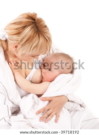 Mother breast feeding her baby girl. Isolated on white - stock photo