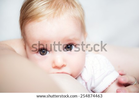 Mother care. Breast feeding baby