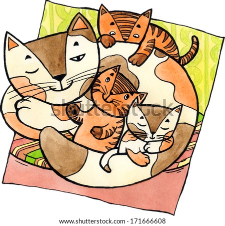 Mother cat laying on the floor with little kittens around. Watercolor and ink illustration. - stock photo