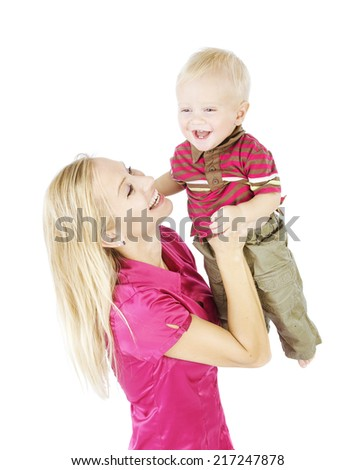 Mother Child Portrait. Happy Woman Raise Up Smiling Son, Little Kid Isolated Over White Background - stock photo