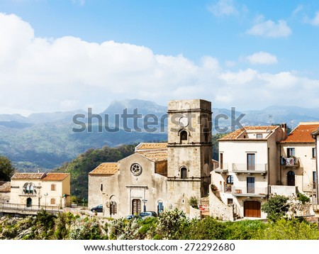 Mother Church (Chiesa Madre) in mountain village Savoca in Sicily, Italy - stock photo