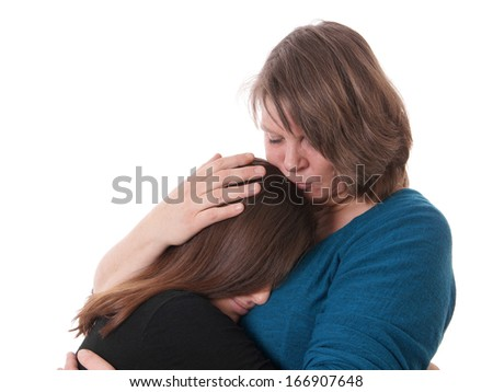 mother comforting her daughter - stock photo