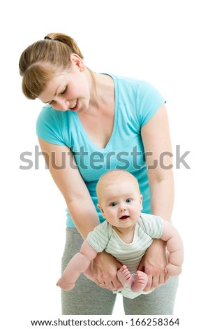 mother doing yoga for baby isolated