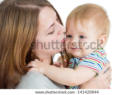 mother embracing baby boy isolated on white - stock photo