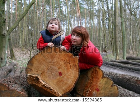 mother end son in a forest