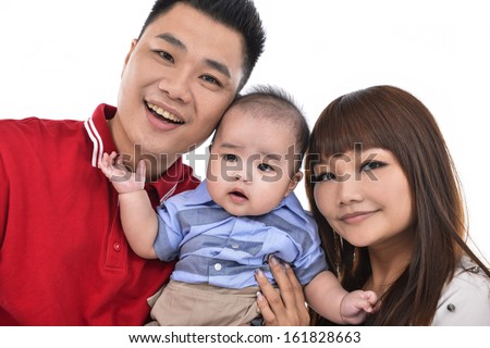 mother, father and baby son at studio