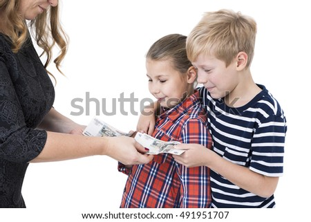 Mother gives to happy children pocket money, isolated white background