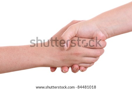 Mother giving hand to a teenager boy, isolated