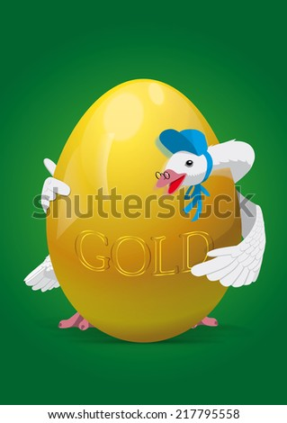 Mother Goose holding a huge golden egg - stock photo