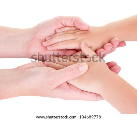 Mother holding childs hands, Isolated on white