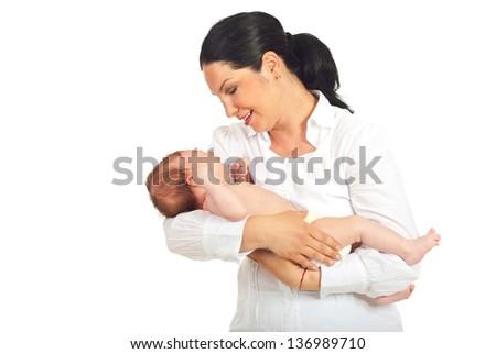 Mother holding crying  newborn baby boy isolated on white background - stock photo