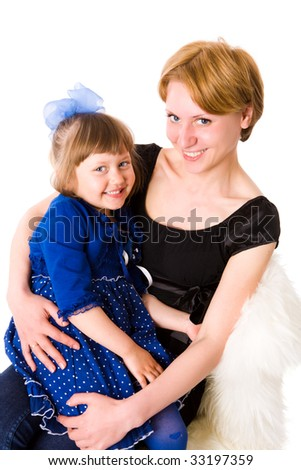 Mother holding five years daughter isolated on white