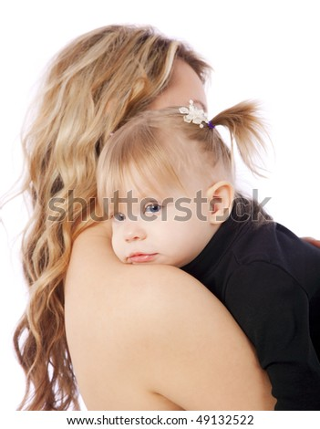 Mother holding her baby daughter on white isolated