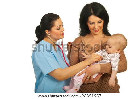 Mother holding her baby while doctor woman examine baby with stethoscope isolated on white background - stock photo